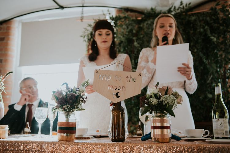 Wedding Reception Speeches | Brides in Lace WED2B Bridal Gowns | Copper & Greenery Industrial Winter Wedding at The West Mill Derby, Styled by The Vintage House That Could | Rosie Kelly Photography | Jason Lynch Weddings