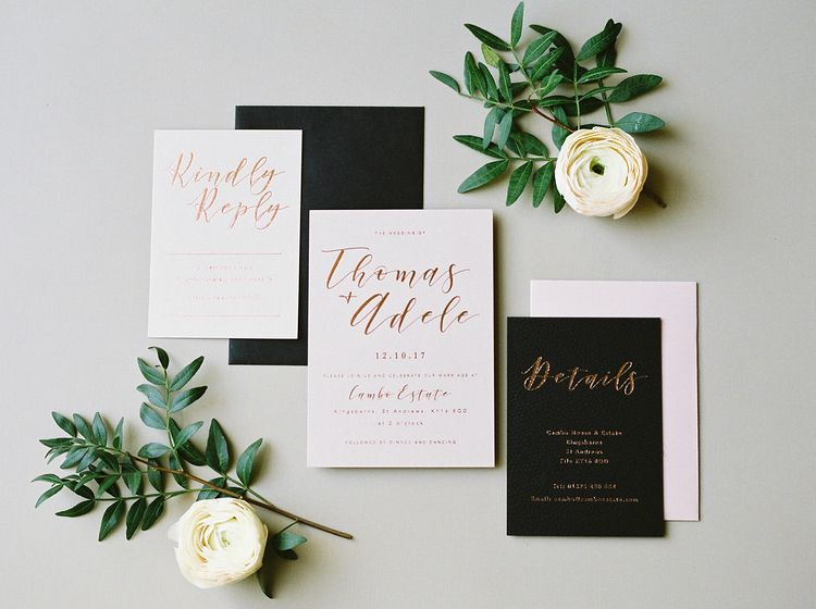 Black, White & Rose Gold Wedding Stationery Suite // Image by Imogen Xiana Photography