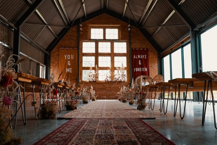 The Giraffe Shed wedding venue in Wales decorated in Autumn wedding colours