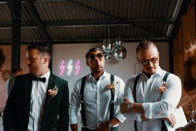 Groom and groomsmen wedding preparations
