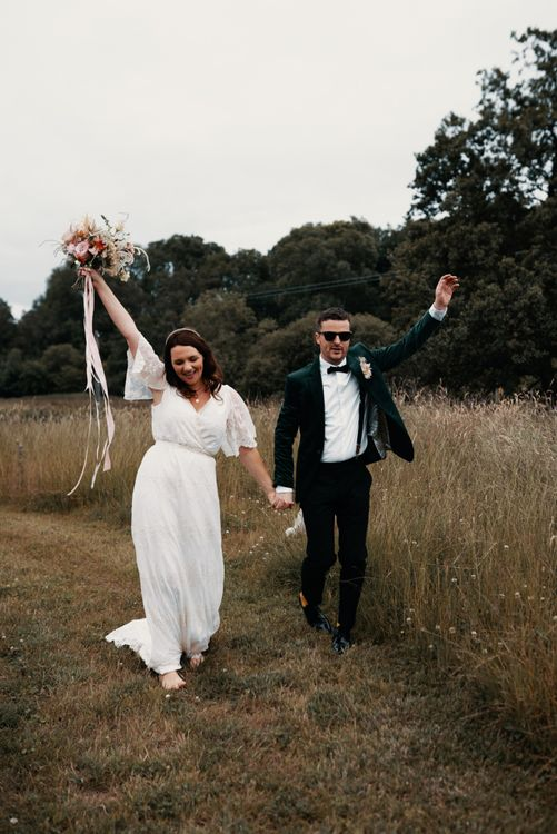 Bride and groom at Wales wedding