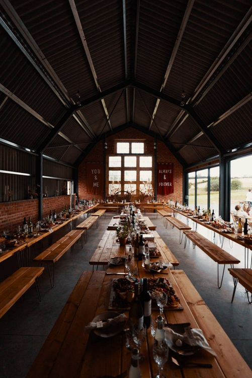 The Giraffe Shed venue in Wales decorated in Autumn wedding colours