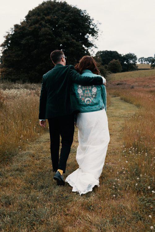 Bridal denim jacket for Welsh wedding