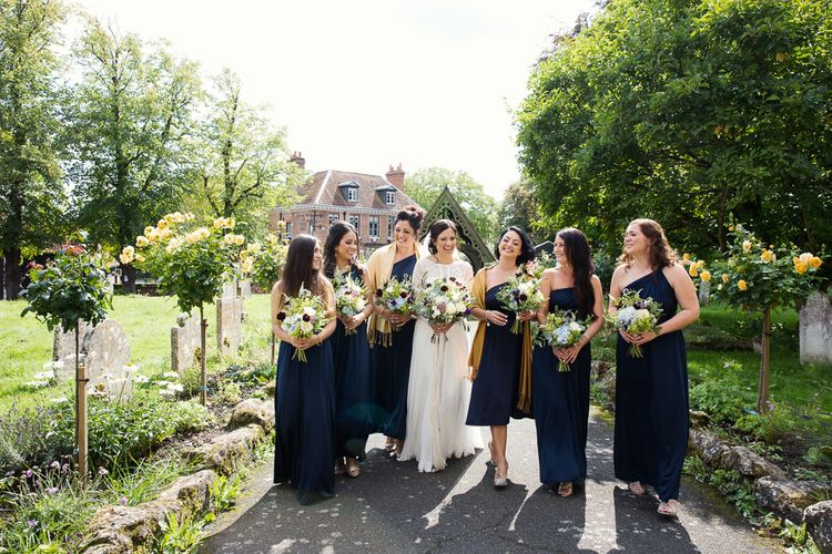 Bridesmaids In Navy Dresses // Tipi Wedding At Weald Country Park Essex With Bride In Maggie Sottero Planned By Louise Perry With Images From Jasmine Jade Photography