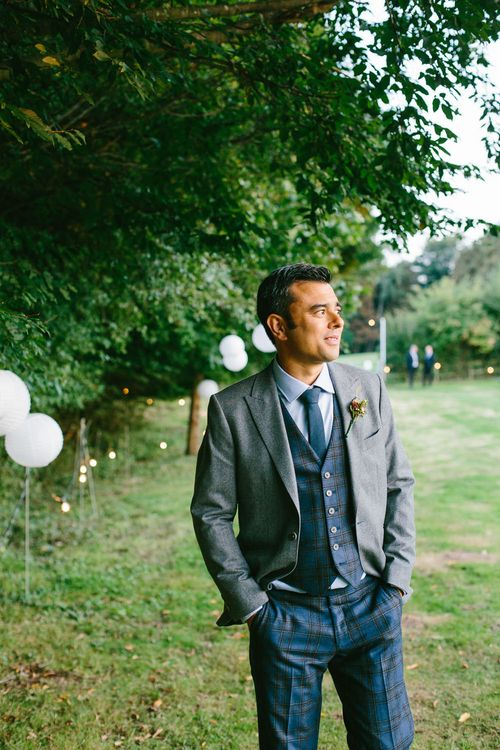 Groom In Bespoke Three Piece Suit // Tipi Wedding At Weald Country Park Essex With Bride In Maggie Sottero Planned By Louise Perry With Images From Jasmine Jade Photography