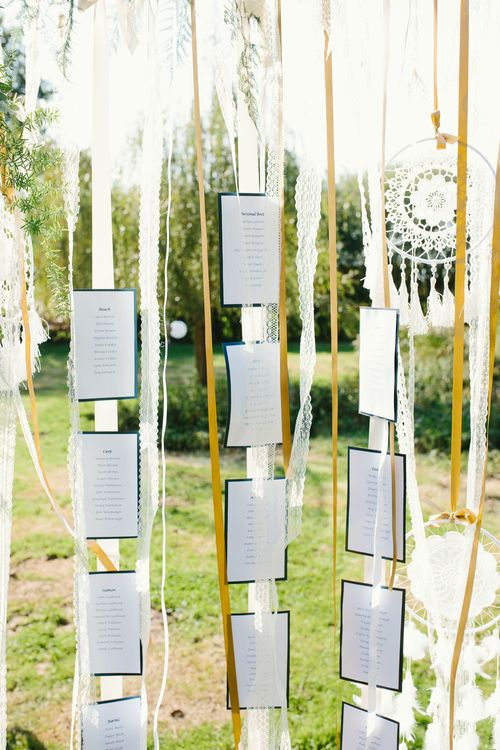 Boho Table Plan For Wedding With Dream Catchers // Tipi Wedding At Weald Country Park Essex With Bride In Maggie Sottero Planned By Louise Perry With Images From Jasmine Jade Photography