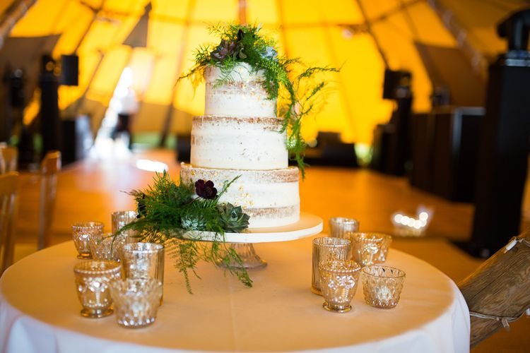 Semi Naked Wedding Cake // Tipi Wedding At Weald Country Park Essex With Bride In Maggie Sottero Planned By Louise Perry With Images From Jasmine Jade Photography