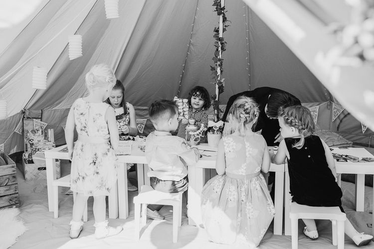 Kids Tent For Wedding // Tipi Wedding At Weald Country Park Essex With Bride In Maggie Sottero Planned By Louise Perry With Images From Jasmine Jade Photography