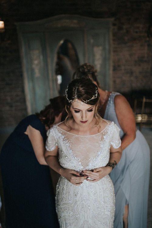 Beautiful Bride Getting Ready in a Beaded Jenny Packham Nashville Wedding Dress
