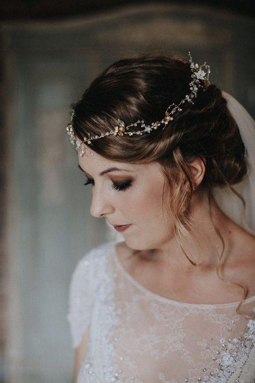 Beautiful Bride with Smokey Eye Makeup and Vine Headdress