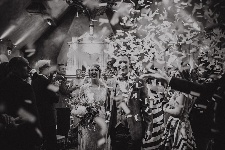 v=Confetti Exit with Bride in Beaded Jenny Packham Nashville Wedding Dress and Groom in Grey Check Blazer and Waistcoat
