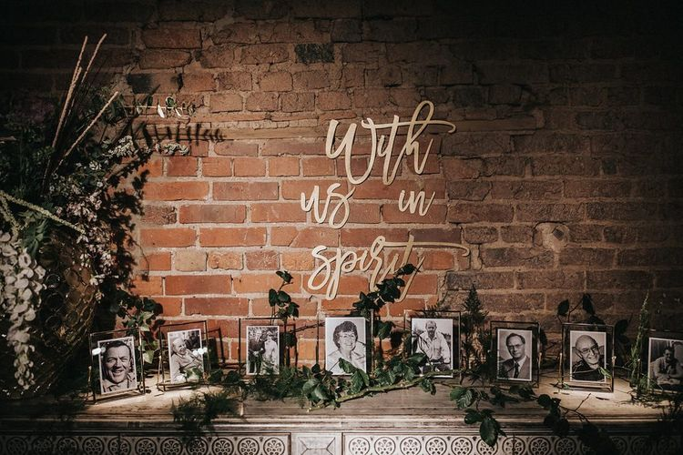 Gold With Us In Spirit Laser Cut Wedding Sign with  Black and White Family Portraits
