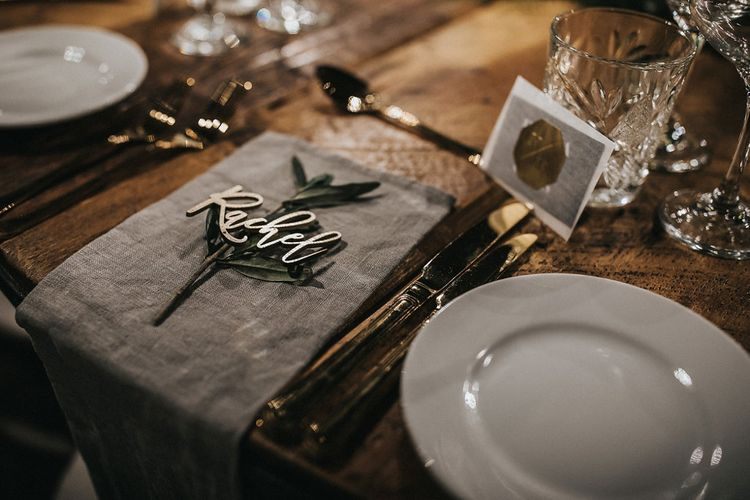 Grey Linen and Laser Cut Name Place Setting