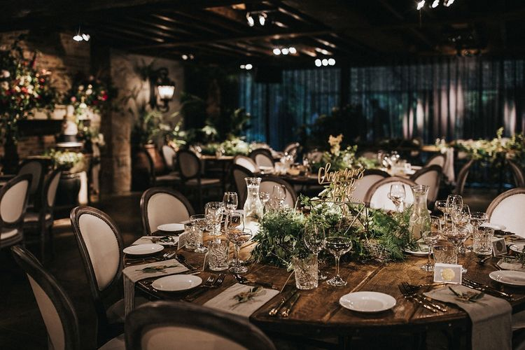Greenery and Gold Table Centrepiece