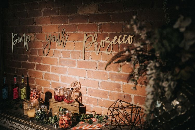Gold Laser Cut Pimp Your Prosecco Wedding Sign and Bar Laden with Fruit and Garnishes