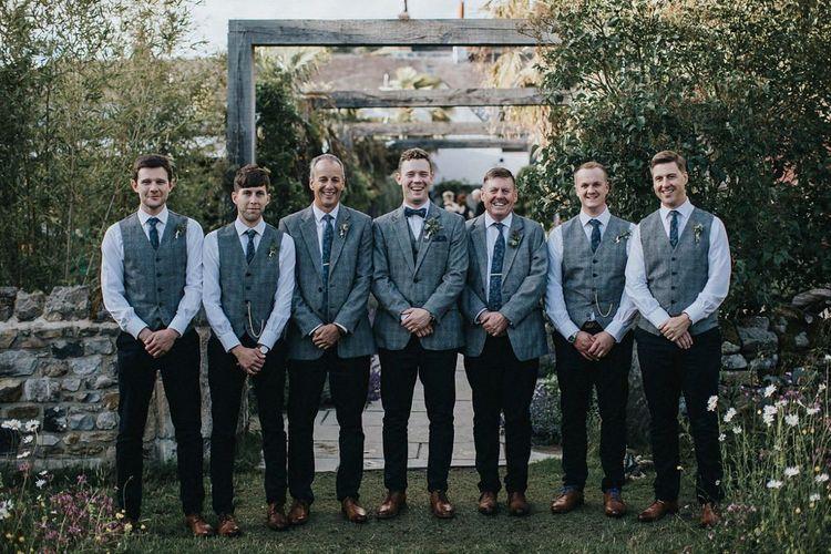 Groomsmen in Navy Chino's and Grey Check Waistcoats and Blazer