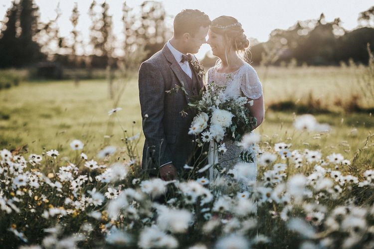 Golden Hour Portrait with Bride in Beaded Jenny Packham Nashville Wedding Dress and Groom in Grey Check Blazer and Waistcoat