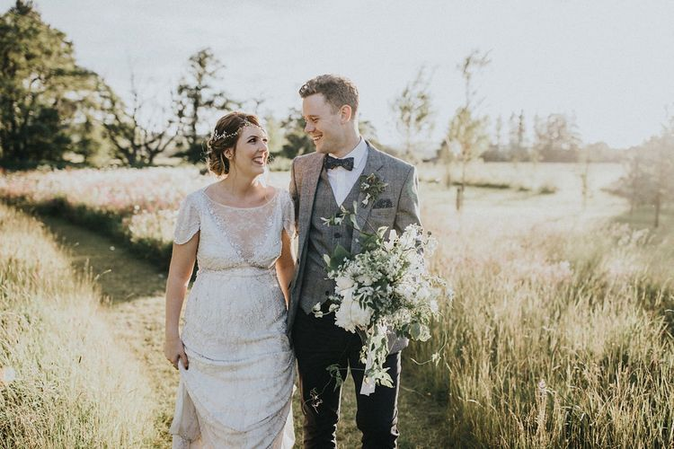 Sunset Portrait with Bride in Beaded Jenny Packham Nashville Wedding Dress and Groom in Grey Check Blazer and Waistcoat