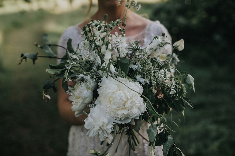 Green and White Wedding Bouquet with Foliage and Roses