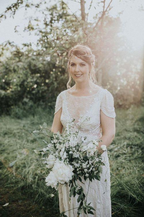 Bride in Beaded Jenny Packham Nashville Wedding Dress and Hair Vine