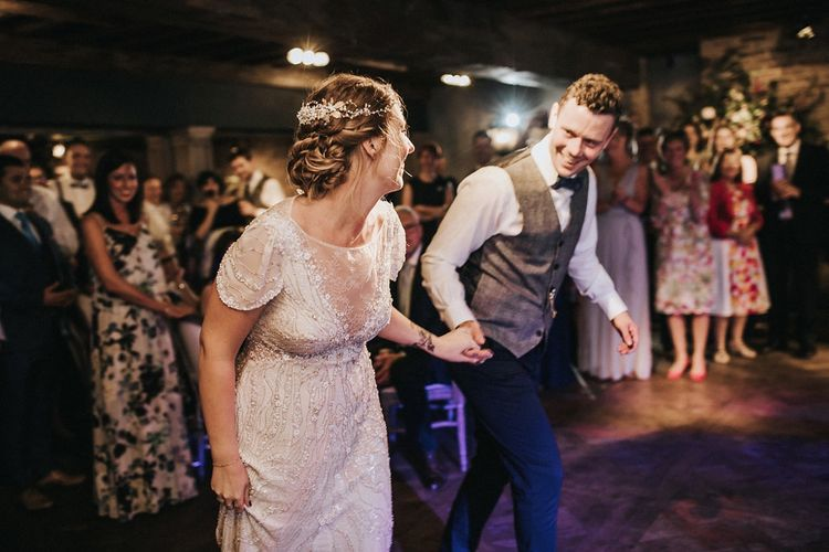 First Dance with Bride in Beaded Jenny Packham Nashville Wedding Dress and Groom in Grey Check Waistcoat