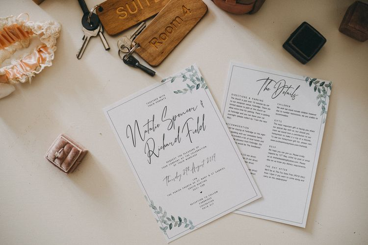 Foliage wedding stationery at Farbridge wedding venue