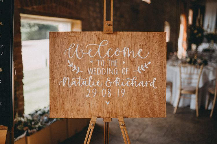 Wooden wedding sign for Farbridge wedding venue