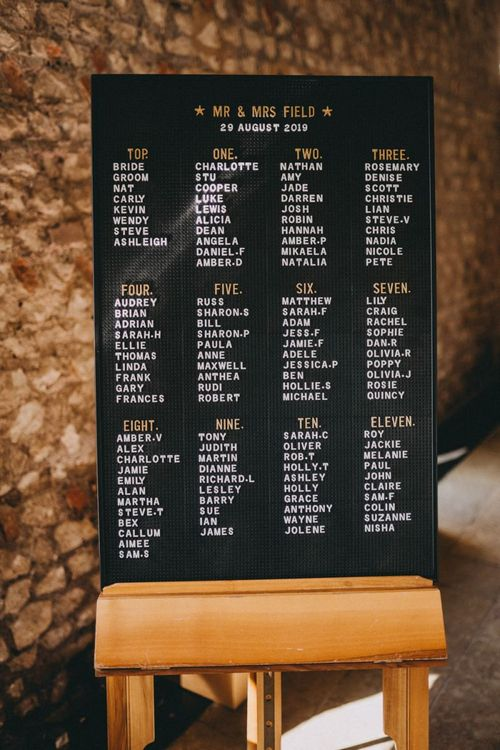 Peg board seating chart at Farbridge wedding venue