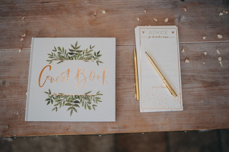 Wedding guestbook at Farbridge wedding venue