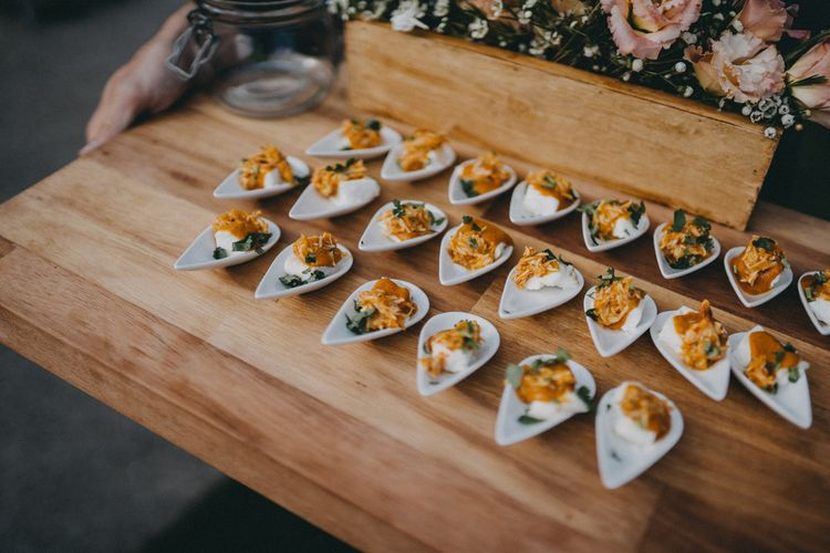 Canapés for guests at Farbridge wedding venue