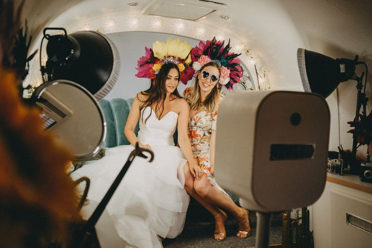 Airstream photo booth at Farbridge wedding venue in Sussex