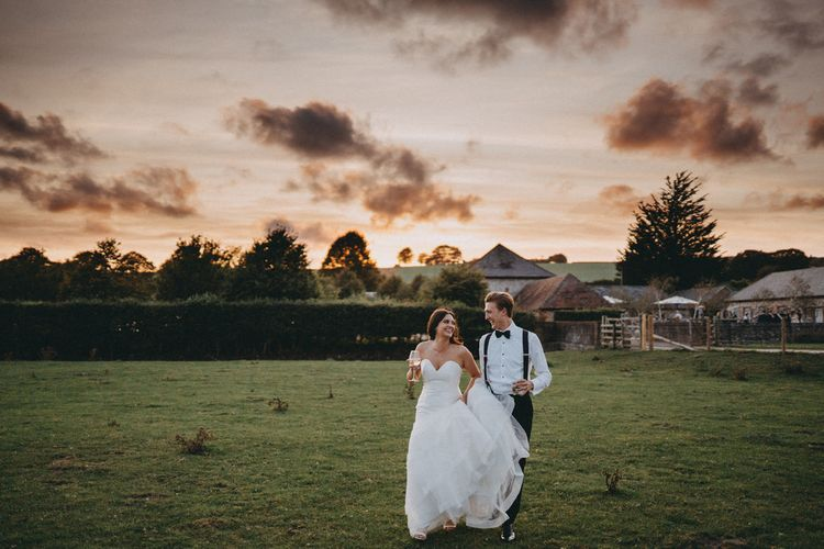 Bride and groom at Farbridge wedding venue in Sussex