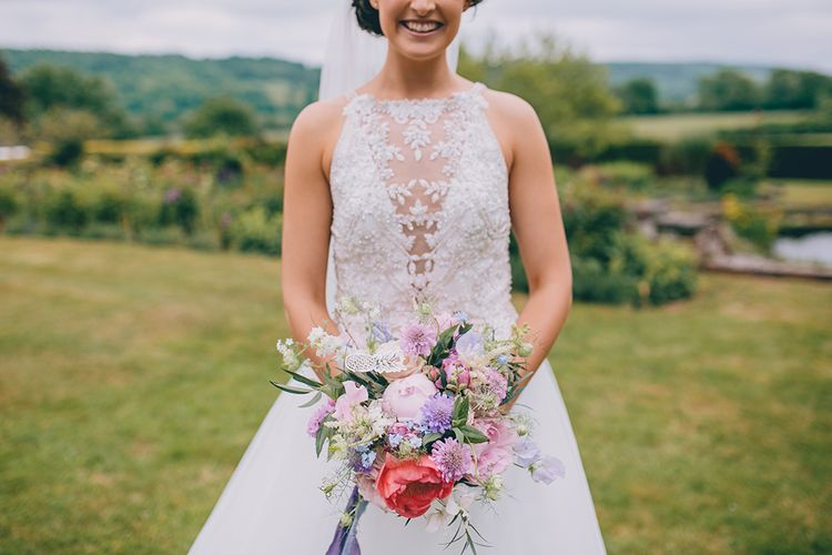 Bride in Beaded Halterneck Gown with Tulle Skirt and Spaghetti Straps by Maggie Sottero | Pastel Wedding Bouquet with Peonies | Halterneck Maggie Sottero Dress and Garden Games at Gate Street Barn | Story + Colour Photography