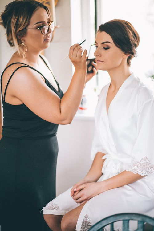 Wedding Morning Preparations | Bridal Make Up | Meg Lindow Make Up Artist | Halterneck Maggie Sottero Dress and Garden Games at Gate Street Barn | Story + Colour Photography