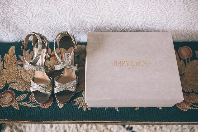 Sparkly Silver Jimmy Choo Shoes | Halterneck Maggie Sottero Dress and Garden Games at Gate Street Barn | Story + Colour Photography