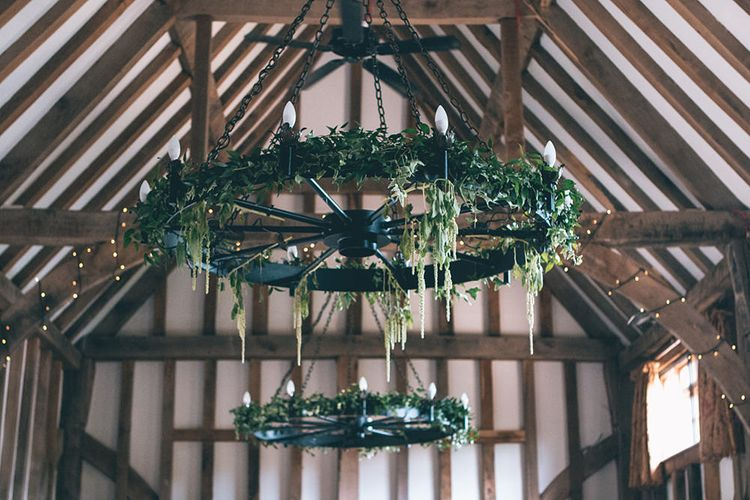 Wedding Reception Decor | Foliage Installation in Barn | Halterneck Maggie Sottero Dress and Garden Games at Gate Street Barn | Story + Colour Photography