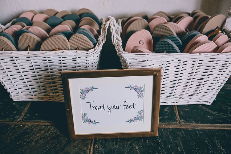 Wedding Reception | Baskets of Flip Flops | Halterneck Maggie Sottero Dress and Garden Games at Gate Street Barn | Story + Colour Photography