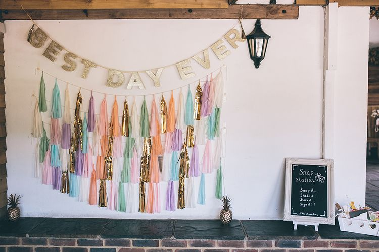 Wedding Reception | Homemade Photo Booth | Halterneck Maggie Sottero Dress and Garden Games at Gate Street Barn | Story + Colour Photography