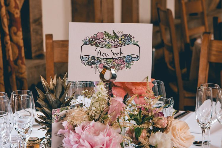 Wedding Reception Decor | Table Name | Pastel Flowers | Gold Pineapples | Halterneck Maggie Sottero Dress and Garden Games at Gate Street Barn | Story + Colour Photography