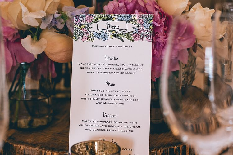 Wedding Reception Decor | Wedding Breakfast Menu | Pastel Flowers | Pink Peonies | Halterneck Maggie Sottero Dress and Garden Games at Gate Street Barn | Story + Colour Photography