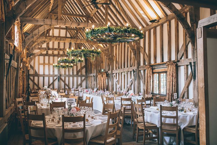 Wedding Reception Decor | Gate Street Barn Set Up for Wedding Breakfast | Foliage Light Installation | Halterneck Maggie Sottero Dress and Garden Games at Gate Street Barn | Story + Colour Photography