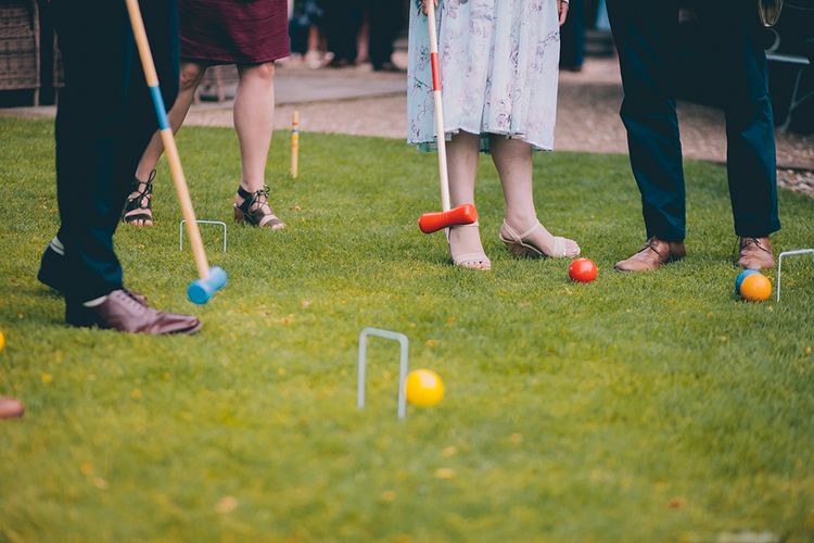 Wedding Reception | Lawn Games | Croquet | Halterneck Maggie Sottero Dress and Garden Games at Gate Street Barn | Story + Colour Photography