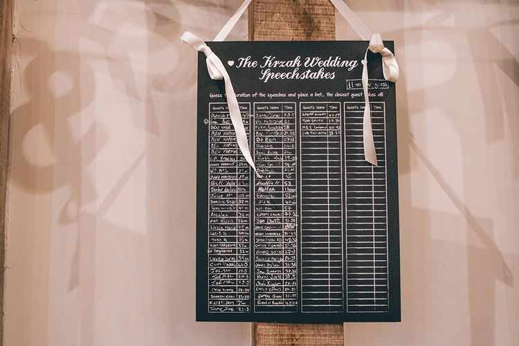 Wedding Reception Decor | Speech Sweepstake Board | Halterneck Maggie Sottero Dress and Garden Games at Gate Street Barn | Story + Colour Photography