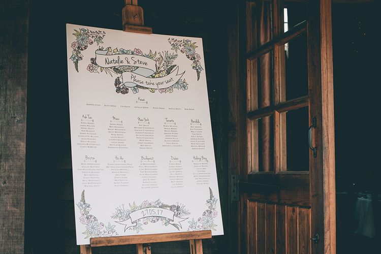 Wedding Reception Decor | Seating Plan | Halterneck Maggie Sottero Dress and Garden Games at Gate Street Barn | Story + Colour Photography