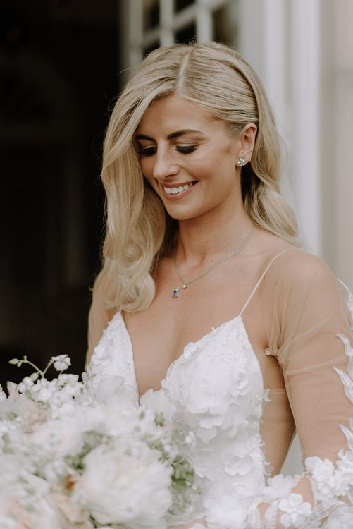 Beautiful Bridal Hair Do with Side Pinned Back