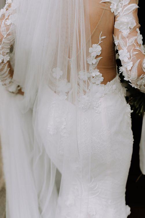Riki Dalal Low Back Appliqué Dress with Veil