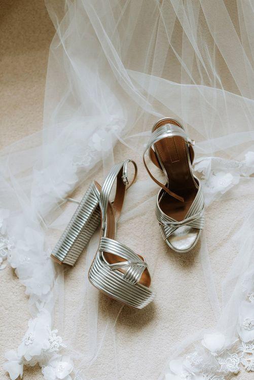 Aquazzura Bride Shoes in Silver with Platform