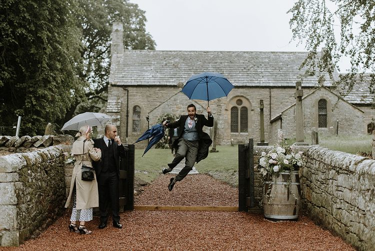 Before Wedding Ceremony Raining Outside Church
