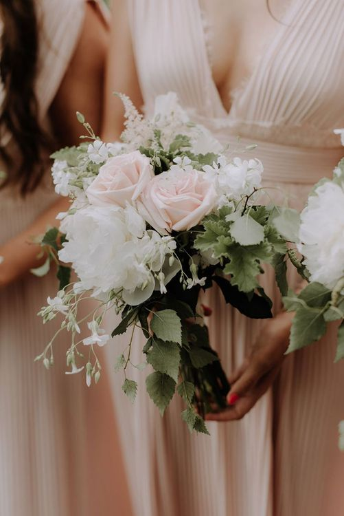 White and Blush Wedding Bouquet with Foliage