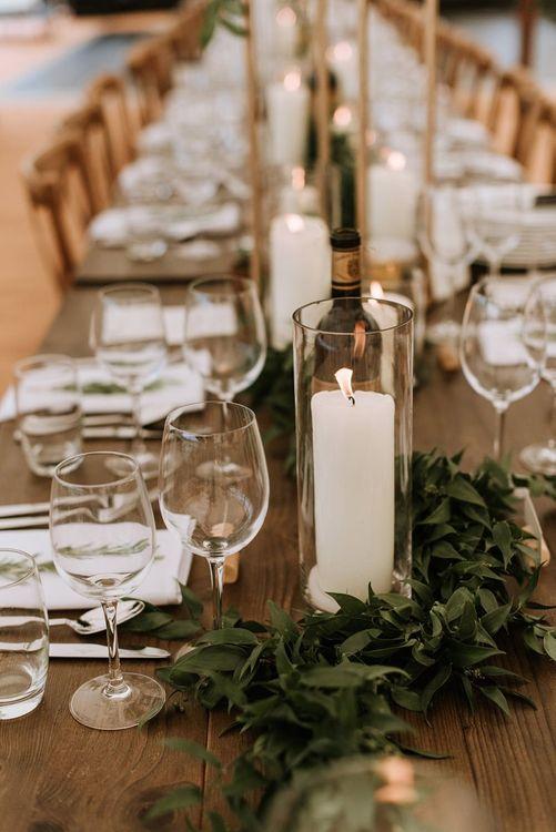 Candle and Foliage Table Decor